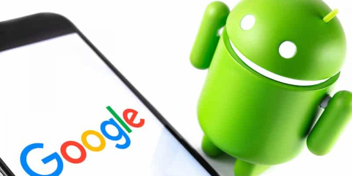 closeup Google Android figure and smartphone with Google logo. Google Android is the operating system for smartphones, tablet computers and other devices. Moscow, Russia - March 17, 2019